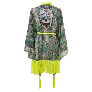 Kimono GREEN SNAKE 3 SKULL