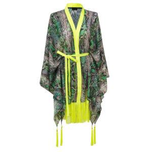 Kimono GREEN SNAKE GOLD WINGS FRINGE
